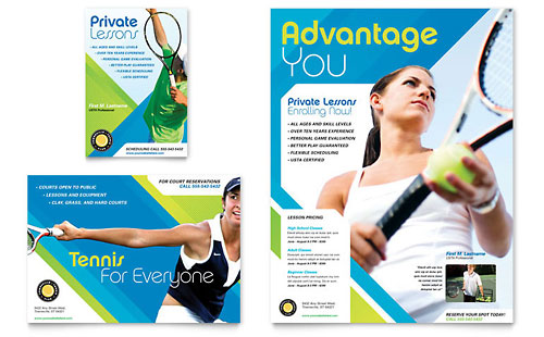 Tennis Club & Camp Flyer & Ad Template Design