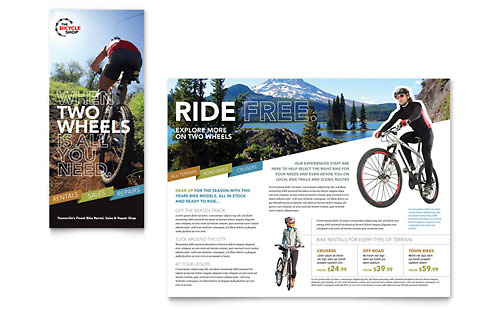 Bike Rentals & Mountain Biking Tri Fold Brochure Template Design