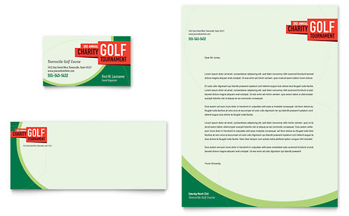 Golf Tournament Business Card & Letterhead Template