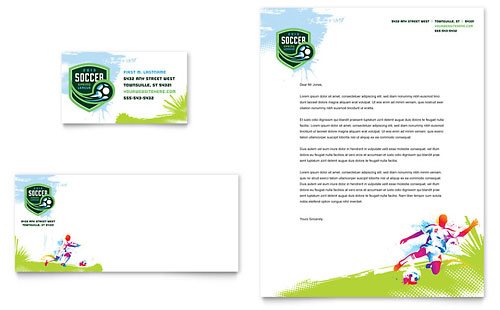 Youth Soccer Business Card & Letterhead Template Design
