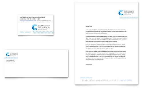 Community Swimming Pool Business Card & Letterhead