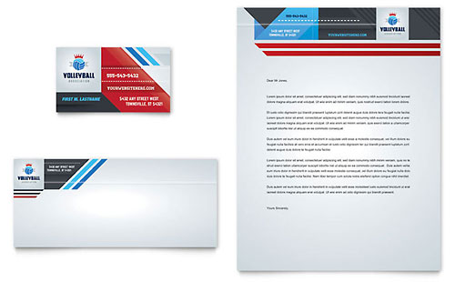 Volleyball Camp Business Card & Letterhead Template Design