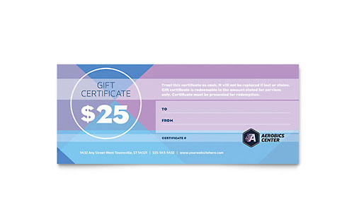 aerobics center gift certificate template - Personal Training Certificate Template