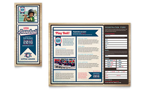Baseball League Brochure Template Design