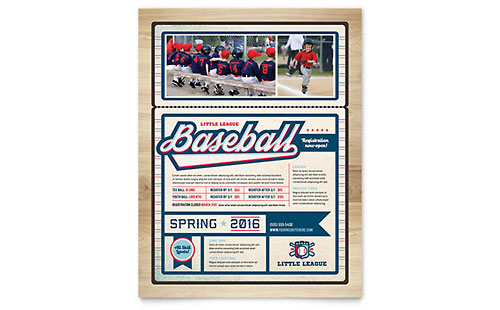 Baseball League Flyer Template Design