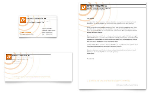 Computer Consulting Business Card Letterhead Template Design - Word document business card template