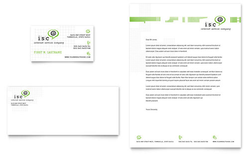 ISP Internet Service Business Card & Letterhead Template Design