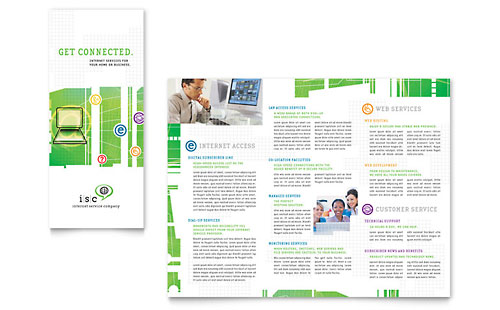 ISP Internet Service Tri Fold Brochure Template Design
