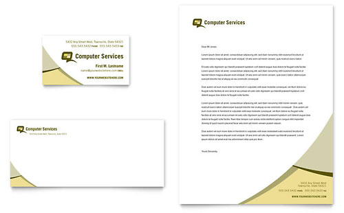 Computer Services & Consulting Business Card & Letterhead