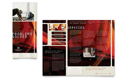 Software solutions brochure template design for Computer brochure templates
