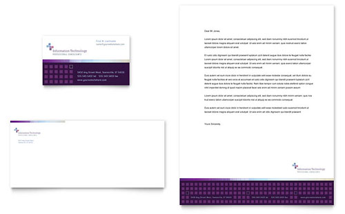 Information Technology Consultants Business Card & Letterhead Template