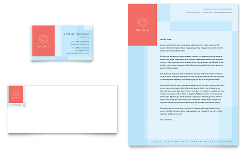 Communications Company Business Card & Letterhead
