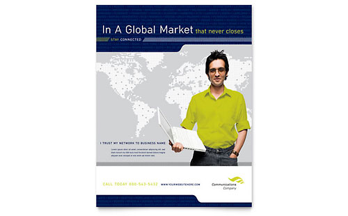 Global Communications Company Flyer Template Design