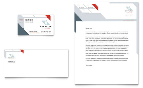 Computer Solutions Business Card & Letterhead Template