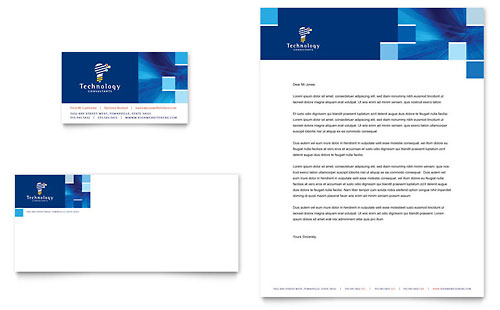 Technology Consulting & IT Business Card & Letterhead Template