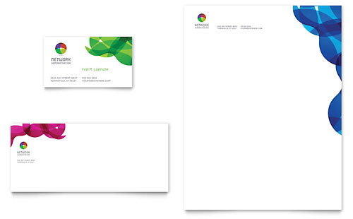 Network Administration Business Card & Letterhead Template