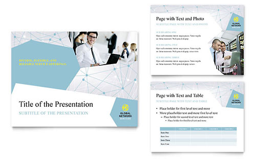 powerpoint brochure template - global network services brochure template design