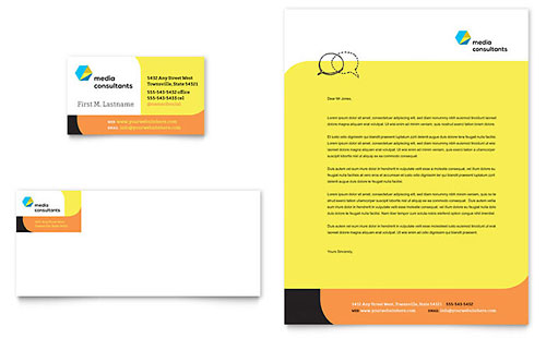 Social Media Consultant Business Card Letterhead Template Design