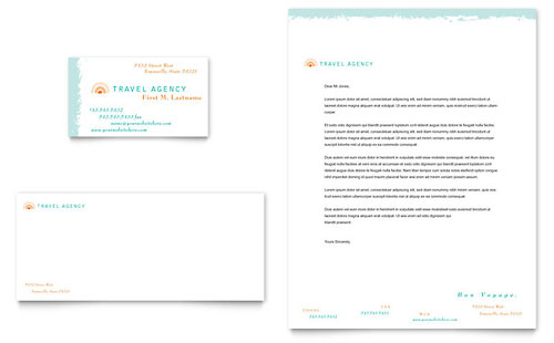 Travel agency business card letterhead template design spiritdancerdesigns