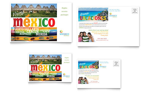 Mexico Travel Postcard Template Design