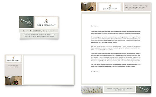 Bed & Breakfast Motel Business Card & Letterhead Template
