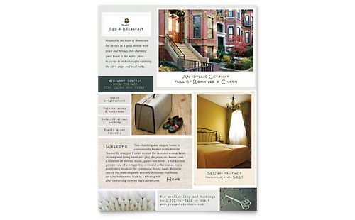 Bed & Breakfast Motel Flyer Template Design