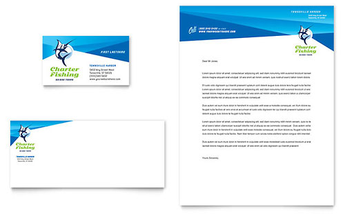 Fishing Charter & Guide Business Card & Letterhead Template Design