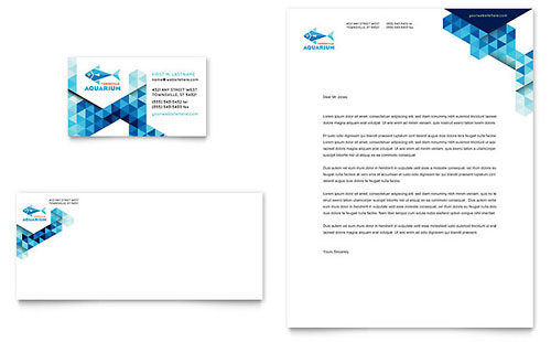 Ocean Aquarium Business Card & Letterhead Template Design