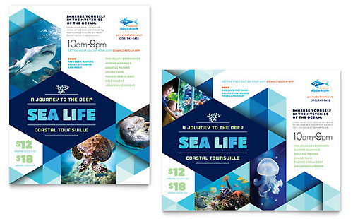 Ocean Aquarium Poster Template Design