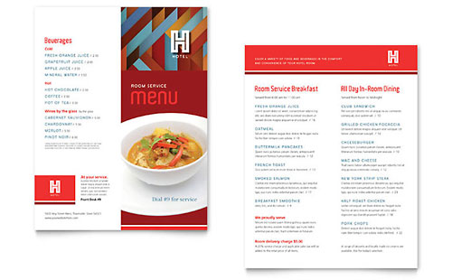 hotel menu template design