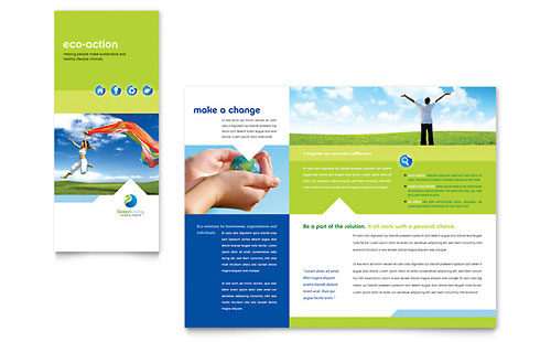 Green Living & Recycling Tri Fold Brochure Template Design