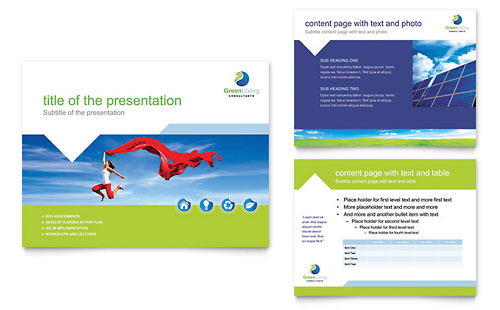 Green Living & Recycling PowerPoint Presentation Template Design