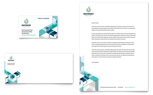 Oil & Gas Company Business Card & Letterhead Template Design
