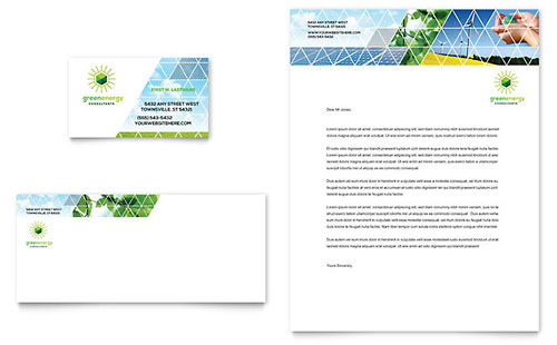 Green energy consultant business card letterhead template design accmission
