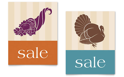Thanksgiving Cornucopia & Turkey Sale Poster Template