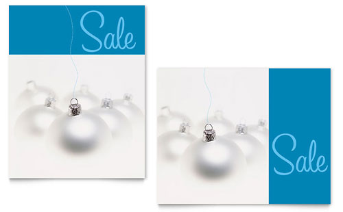 Silver Ornaments Sale Poster Template