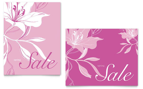 Pink Flowers Sale Poster Template