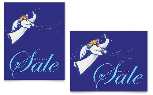 Christmas Angel Sale Poster Template Design