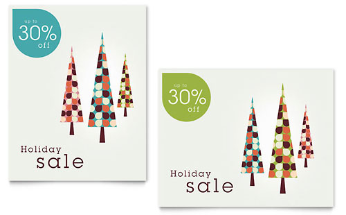 Modern Holiday Trees Sale Poster
