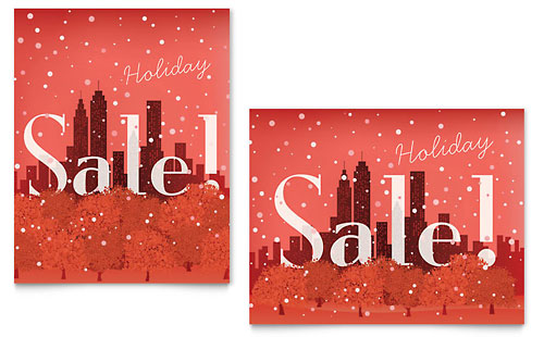 Cityscape Winter Holiday Sale Poster