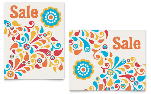 Summer Color Floral Sale Poster