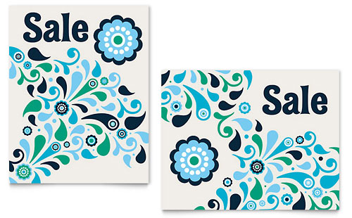 Winter Color Floral Sale Poster