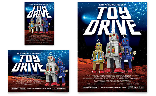 Holiday Toy Drive Fundraiser Flyer & Ad Template