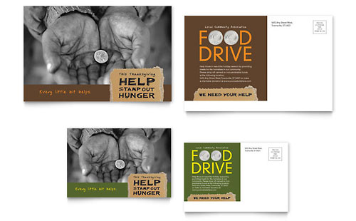 Holiday Food Drive Fundraiser Postcard