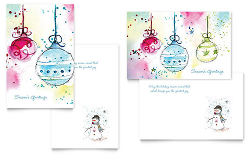 Whimsical Ornaments Greeting Card Template