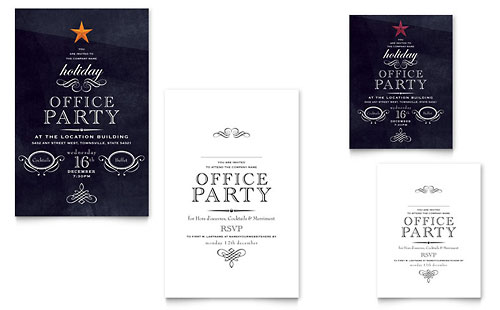 office holiday party note card template design. Black Bedroom Furniture Sets. Home Design Ideas