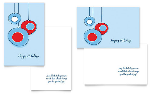 Holiday Ornament Greeting Card Template