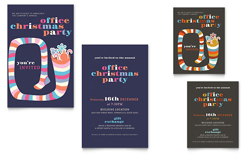 Christmas Party Note Card Template Design
