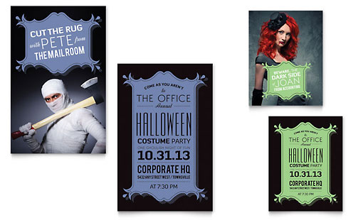 Halloween Costume Party Note Card Template Design