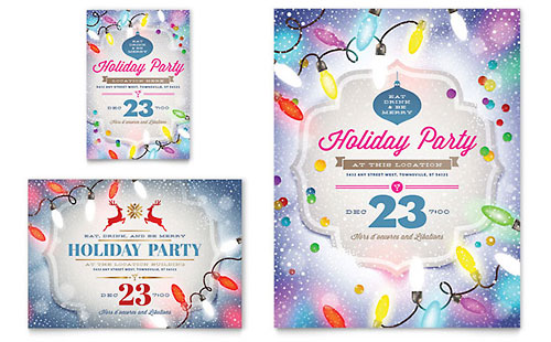 Holiday Party Flyer & Ad Template Design